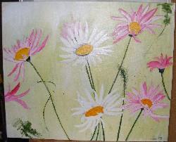 Gänseblümchen in Acryl auf Leinwand 60x50cm
