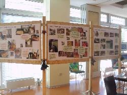Plakate auf der einen Seite der Stellwand