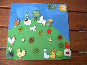 Bauernwiese mit Acryl gemalt und beklebt