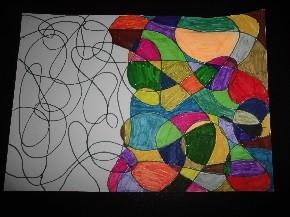 Abstrakte Kunst mit Filzstiften