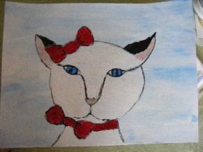 Katze mit Acryl gemalt