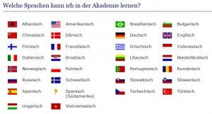 Welche Sprachen kann ich in der Akademie lernen?