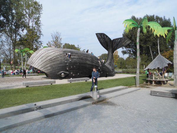 Ein Riesenwal auf dem Wasserspielplatz